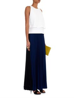 Fendi Bi-colour pleated crepe maxi skirt