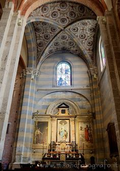 Milan (Italy): Side altar in the San Simpliciano Basilica, with gothic setup