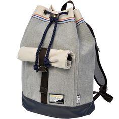 Master-piece co Sakura backpack.  Grey. Cream. Stripes.