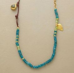 """Nava Zahavi indulges her penchant for coastal hues: apatite, peridot, green garnet, matte 18kt gold and lengths of leather. Exclusive. Handcrafted with 24kt goldplate on sterling silver hook clasp. Approx. 36-1/2""""L."""
