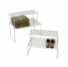 White Grid Stacking Shelves - for use in closet for tshirts etc.  sc 1 st  Pinterest & Gibson Plate Holders 3PL Display Stand Clear Acrylic w/White Wire ...
