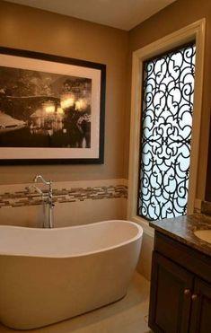 Tableaux® Faux Iron Designer Grilles are often used as window coverings and… Bathroom Window Coverings, Window In Shower, Kitchen Window Treatments, Bathroom Windows, Large Window Coverings, Iron Windows, Faux Window, Decorative Screens, Best Bath
