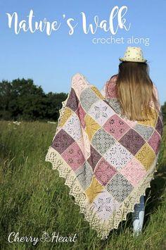 Ravelry: Nature's Walk Blanket pattern by Sandra Paul Crochet Blanket Border, Crochet Squares, Crochet Granny, Crochet Blanket Patterns, Crochet Baby, Knit Crochet, Afghan Crochet, Granny Squares, Crochet Toys