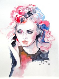 Fashion Illustration Watercolor - SOLD