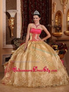 Gold and pink quinceanera dresses