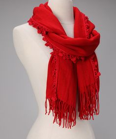 Red Heart Scarf.  I love this fresh way to tie a scarf!