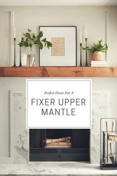Living Room Mantle, Fixer Upper Living Room, Living Room Decor, Decor Room, Bedroom Decor, Style At Home, Home Fireplace, Over Fireplace Decor, Fireplace Mantle Decorations