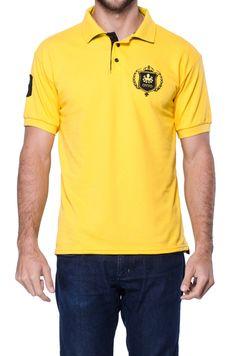 Pólo Otto Escudo Amarela Com Bordado Preto Polo T Shirts, Polo Ralph Lauren, Yellow, Mens Tops, Manga, Google, Products, Fashion, Men Models