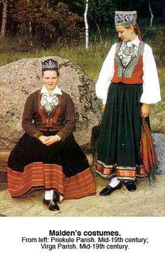 Latvian Maiden's costumes, mid-19 century