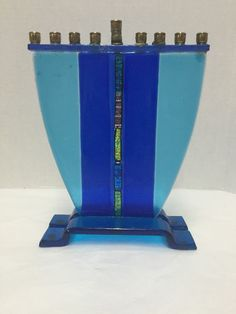 Menorah Hanukkah Glass Signed Baskin 1999 Chanukah Jewish Judaica Hanukiah