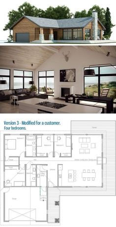 Country House Plan Small Home Plan Modern Interior design architecture &; pinturest Country House Plan Small Home Plan Modern Interior design architecture &; Country House Plans, New House Plans, Dream House Plans, Small House Plans, House Floor Plans, One Level House Plans, L Shaped House Plans, Modern Floor Plans, Three Bedroom House Plan