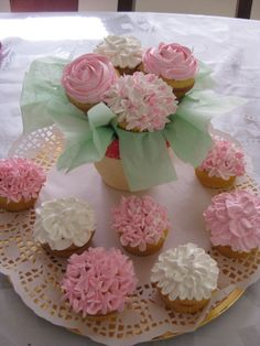 Cupcake Bouquet; I love the idea of this being part of the centerpieces in a wedding