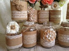 10x rustic burlap and lace covered mason jar vases wedding