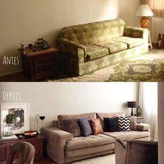 WEBSTA @ eridollinger - A primeira vez que entrei nessa sala ela era assim (primeira foto)E essa foi a repaginada que dei (segunda foto)Como uma das mesinhas laterais usei um baú que ficava em meu quarto , quando era criança e guardava meus brinquedos. A outra mesinha ficava em meu quarto de solteira. As almofadas foram compradas em várias lojas populares! #homedesign #homedesigner #decor #decoration #decoraçao #sala #livingroom #transformaçao #transformation #antesdepois #afterbefore…