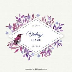 foglie di viola con telaio uccello acquerello