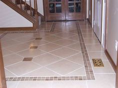 Kitchen Floor Tile Border Ideas Ceramic Tile Designs For Foyer Maybe I Need To Square Off Di on Decorative Ceramic Floor Tile Home Design Ideas Kitchen Floor Tile Patterns, Kitchen Tiles Design, Bathroom Tile Designs, Floor Patterns, Kitchen Decor, Bathroom Wall, Tiles Design For Hall, Floor Design, House Design