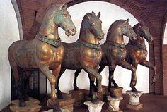 The Four Horses Rest Inside St. Mark's Basilica in Venice after Being Plundered from Constantinople in the century Ancient Rome, Ancient Art, Sack Of Constantinople, Saint Mark's Basilica, Four Horses, Equestrian Statue, Horse Sculpture, Venice Travel, Dark Ages