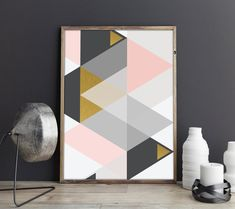 Abstract Geometric Triangles Print, Gold And Pink Wall Art, Scandinavian Home Decor, Triangles Printable Art Printable Art, Printables, Triangle Print, Pink Wall Art, International Paper Sizes, Pink Walls, Scandinavian Home, Triangles, Abstract