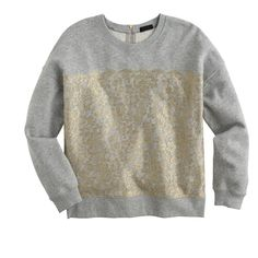 Collection metallic lace sweatshirt : tops   J.Crew
