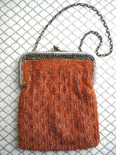 Vintage 1920s Orange Beaded Purse