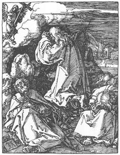 Small Passion: 10. Christ on the Mount of Olives. Durer. 1511. Woodcut. British Museum. London.