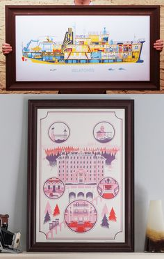 Screen prints from two of my favorite Wes Anderson films: The Life Aquatic and The Grand Budapest Hotel
