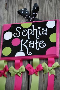 HairBow Holder - DIVA DOT Design  - Handpainted and Personalized Bow Holder - Personalized Bow Organizer - Accessory Organizer