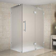 """Found it at Wayfair - Avalux 48"""" x 32"""" x 72"""" Completely Frameless Hinged Shower Enclosure, Frosted Glass"""