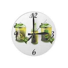 Fresh clean EVOO (Extra Virgin Olive Oil) kitchen wall clokc for the chef who loves using olive oil and has the EVOO motif in the kitchen - numbered 12,3,6 and 9 the clock numbers are removable if you choose not to have them.