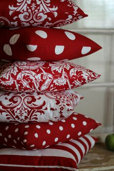 Red and White Large Polka Dot Throw Pillows