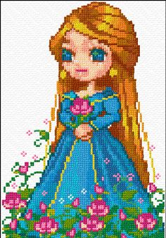 Cross Stitch Pattern *♥*- Blond Girl Blue Dress and Pink Flowers