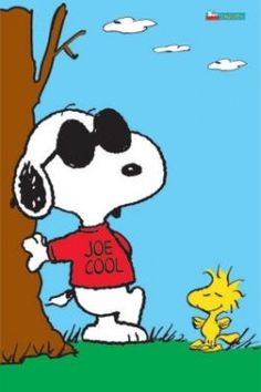"""Joe Cool - Everybody recognizes Snoopy's suave alter ego, """"Joe Cool."""" Snoopy dons his trademark sunglasses and assumes the pose, leaning against a wall with his faithful sidekick Woodstock in tow."""