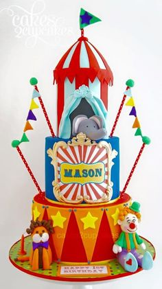 torta circo tematico de circo Pinterest