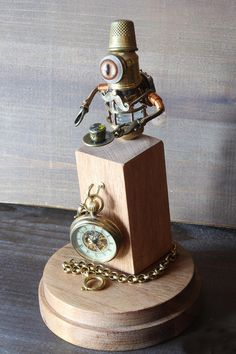 Little Steampunk Minion Robot Sculpture with Fez Mustache and teacup - #steampunk #robot #sculpture #decor #ad