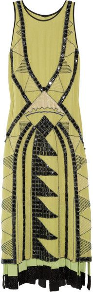 1920's CHRYSLER MANHATTAN ETRO Embellished Silkgeorgette Dress