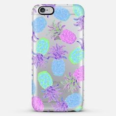 Pineapple Pandemonium Lavender Blue - Transparent/Clear Background iPhone 6 Plus case by Lisa Argyropoulos | Casetify