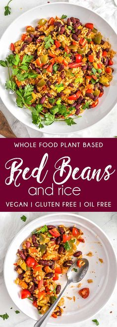 Red Beans and Rice beans rice Cajun Louisiana red beans and rice plant based vegan vegetarian whole food plant based gluten free recipe wfpb healthy healthy vegan oil free no refined sugar no oil refined sugar free dairy free dinner lunch veggies Quick Vegetarian Meals, Good Healthy Recipes, Whole Food Recipes, Vegan Recipes, Vegan Vegetarian, Recipes Dinner, Healthy Meals, Paleo, Healthy Eating