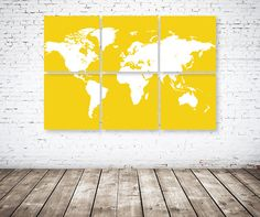 CANVAS World Map Six Panel SetYellow & by GatheredNestDesigns, $160.00