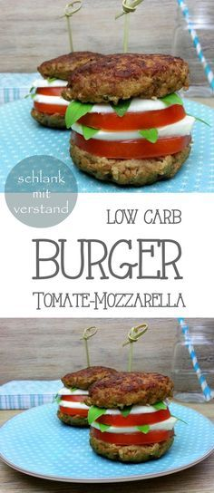 low carb Burger Tomate Mozzarella Ihr wollt low carb, schnell und richtig lecker? Das geht ganz einfach! Probiert unbedingt meinen saftigen low carb Burger mit Tomate Mozzarella. Der schmeckt toll und macht mit nur wenigen Kohlenhydraten richtig satt. Mir reicht tatsächlich einer, aber das Rezept gibt es für 4. #abnehmen #lowcarb #Food #Fitnessfood #Healthyfood #lchf #Rezept