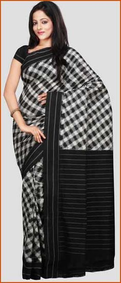 Black and Grey Handloom Pochampally Ikat Cotton Saree with Blouse | $116.68 | Shop Here : http://www.utsavfashion.com/store/sarees-large.aspx?icode=spn545b