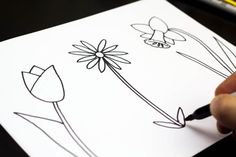 How to draw spring flowers - website that teaches kids how to draw by breaking down the steps