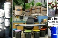 Ecco una carrellata di idee strepitose per riciclare vecchi secchi Flower Market, Diy Flowers, Decoupage, Recycling, Bucket, Crafty, Canning, How To Make, Hobby