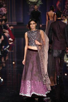 Manish Maholtra Grand Finale Purple Mirror Work #Lehenga At Lakme Fashion Week 2014.