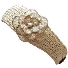 free headband ear warmer crochet pattern   Ivory Crocheted Headband With Sequin Flower Detail