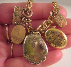 ANTIQUE VICTORIAN GOLD FILLED LOCKET FOB CHARM BRACELET 24.1 grams
