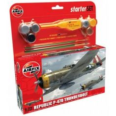 """This Airfix model of the Republic Thunderbolt Formation Monitor) """"Ginny"""" flown by Col James Isbell CO of BG, USAAF Set includes Humbrol poly cement, 2 paint brushes and 6 acrylic paints. Airfix Models, Starter Set, Medium, Nice, Human Height, Medium Length Hairstyles"""