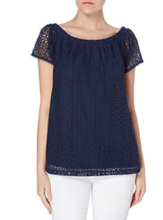 Reinvigorate your summer line-up with this lace top. Featuring a scoop neck and short sleeves, this piece will team beautifully with cropped culottes. Navy bardot lace top Scoop neck Short sleeves Lace design Model's height is 5'11