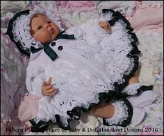 Leaf and Bud Matinee Set 16-22 inch doll (preemie-3m+ baby)