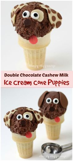 Turn an ordinary frozen treat into adorable Chocolate Cashew Milk Ice Cream Cone Puppies. Kids are gonna love them! Recipe from @hungryhappening