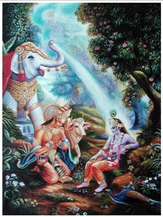 Airavata showers Krsna while Indra offers prayers.